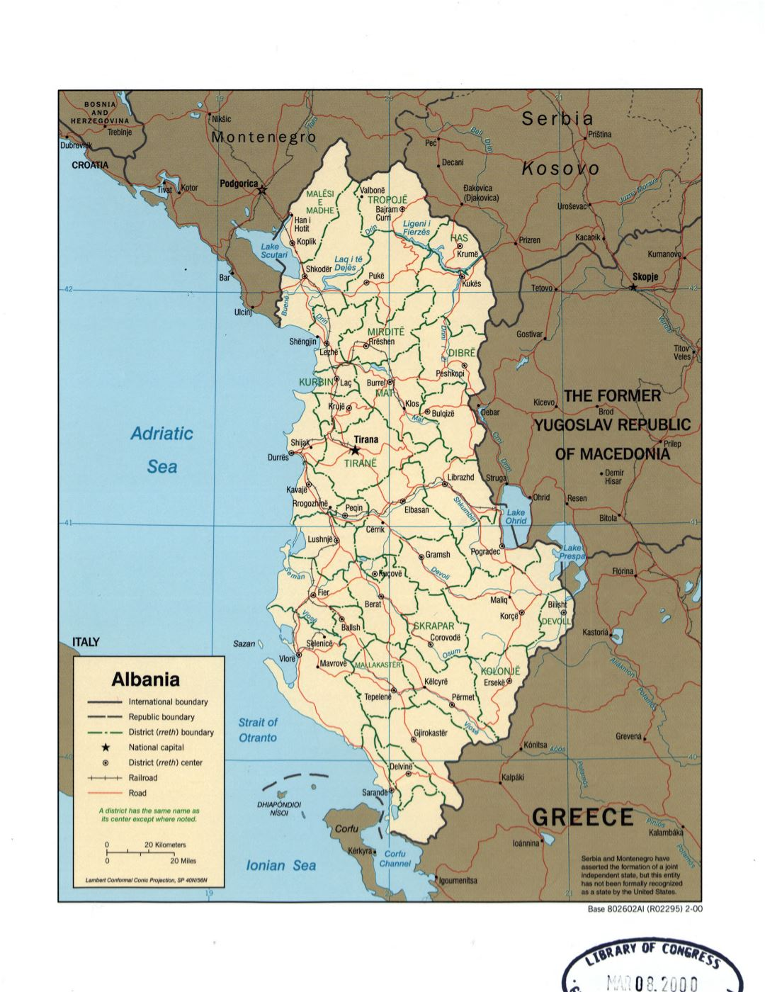 Large detail political and administrative map of Albania with marks of major cities, roads and railroads - 2000