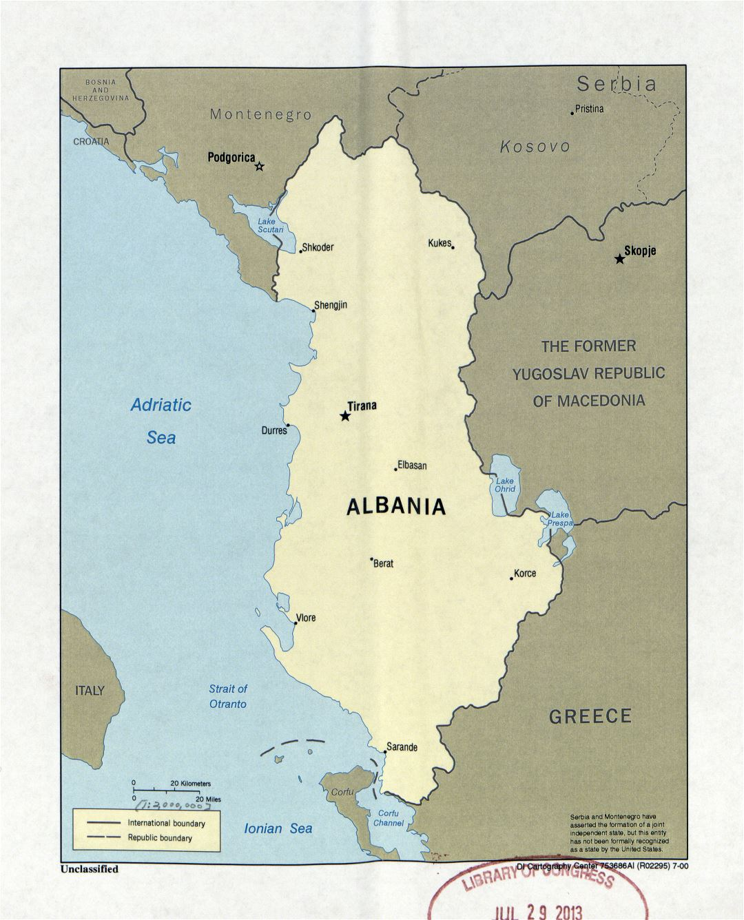 Large detail political map of Albania with marks of capital and major cities - 2000