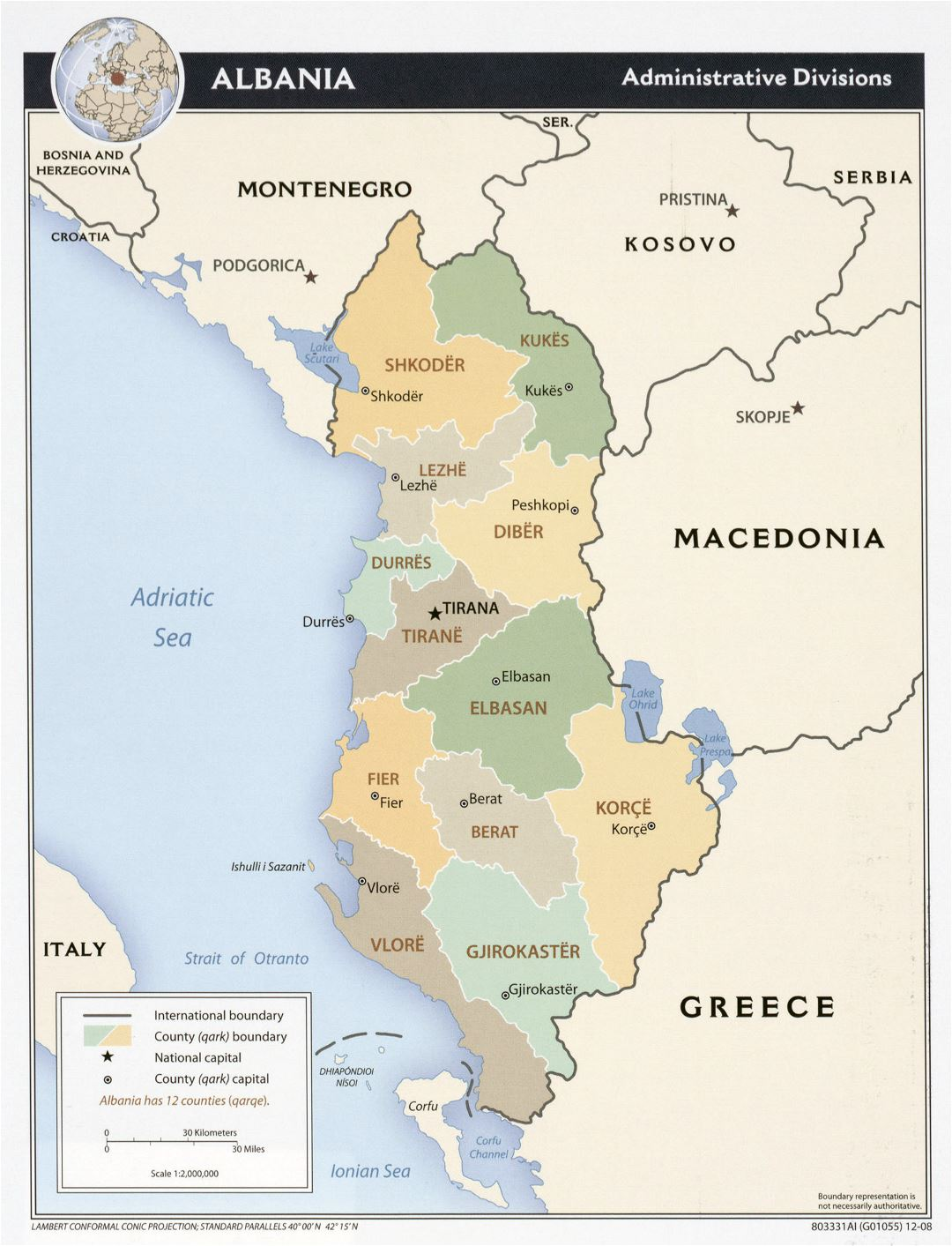 Large detailed administrative divisions map of Albania - 2008