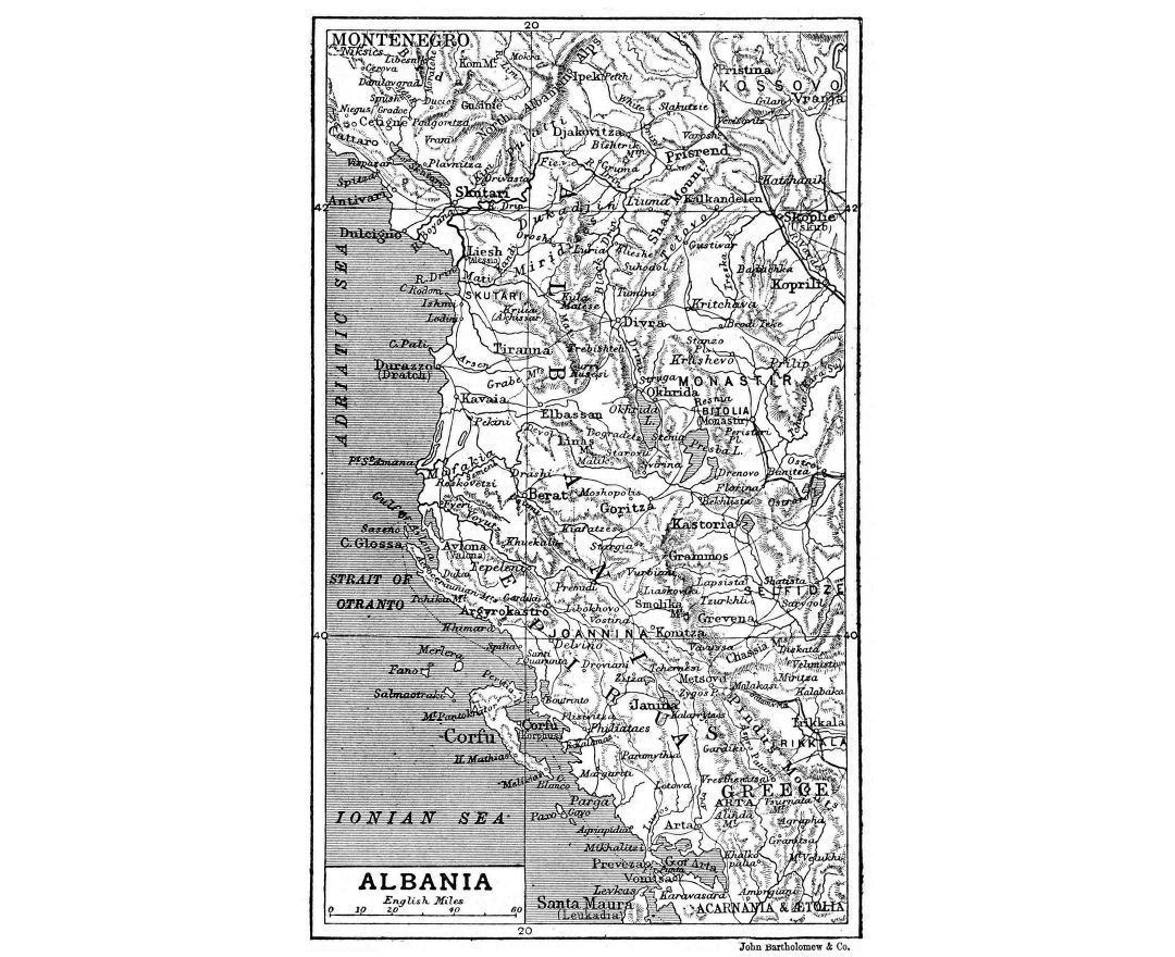 Large detailed old map of Albania with relief - 1906