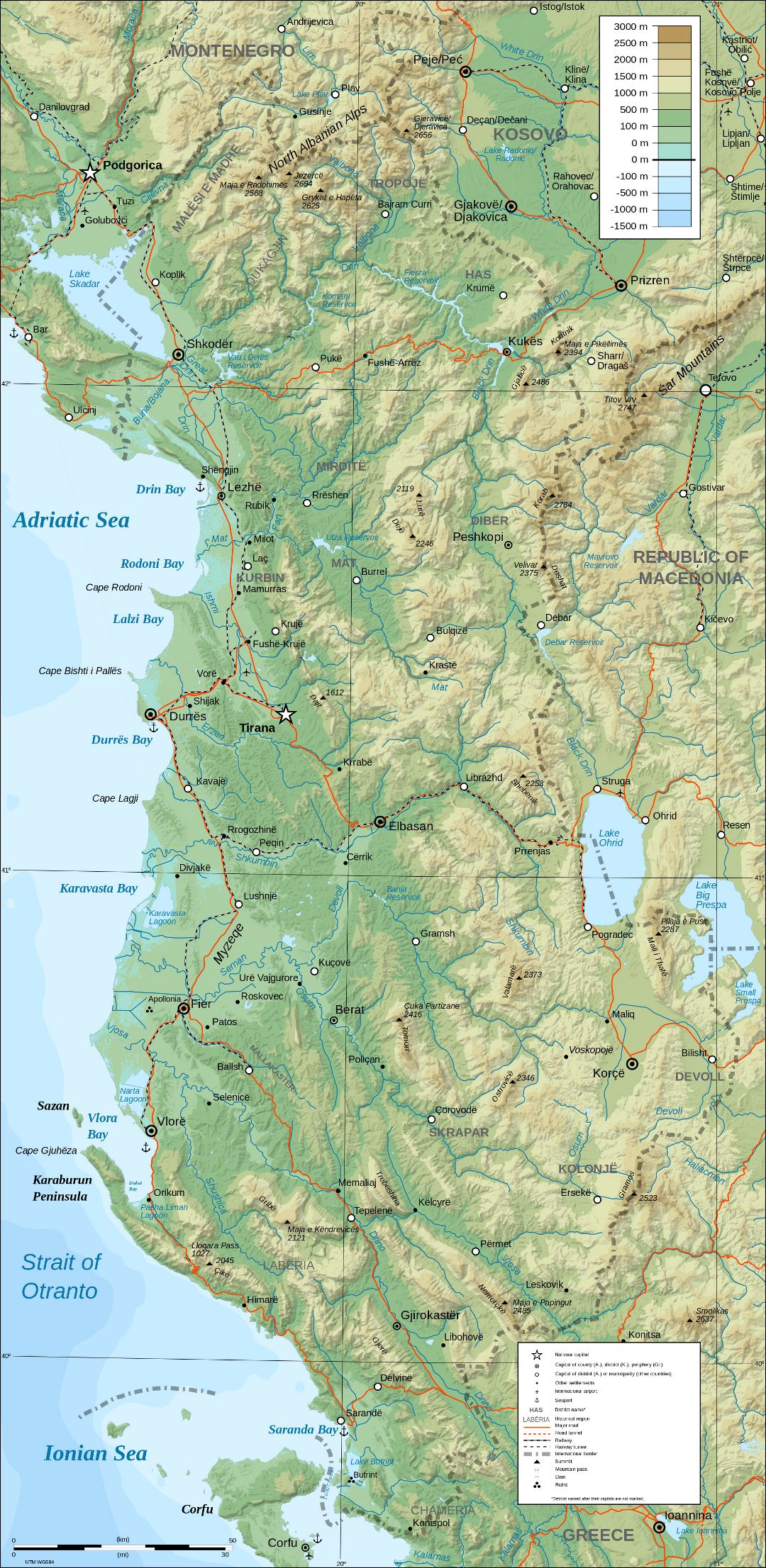 Large detailed physical map of Albania