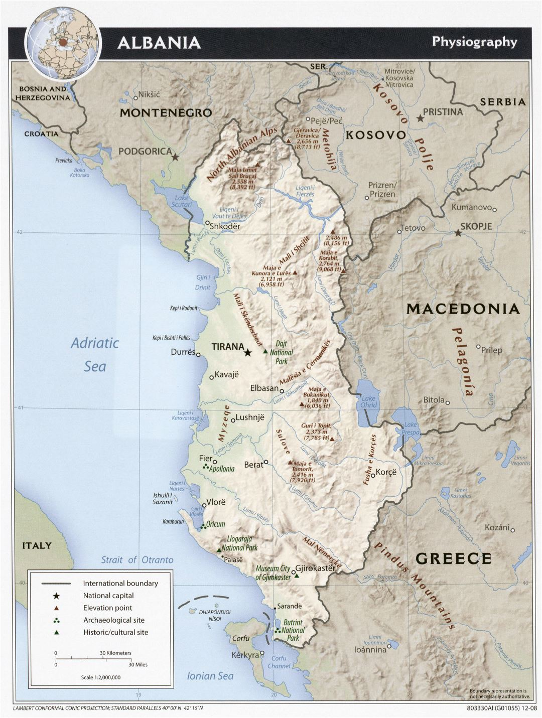 Large detailed physiography map of Albania - 2008