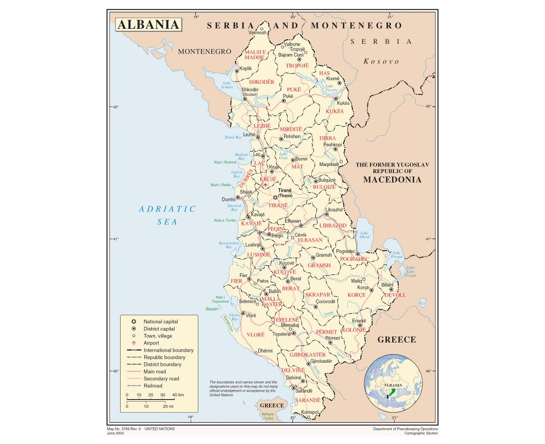 Large detailed political and administrative map of Albania with major roads, major cities and airports