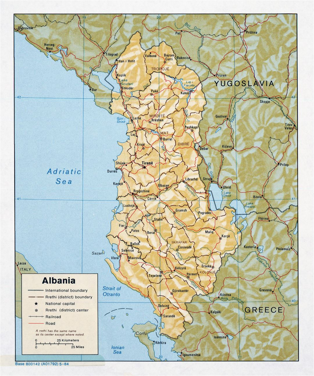 Large detailed political and administrative map of Albania with relief, roads and major cities - 1984