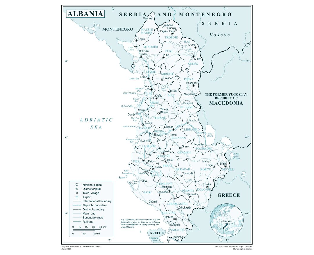Maps of Albania Detailed map of Albania in English Tourist map