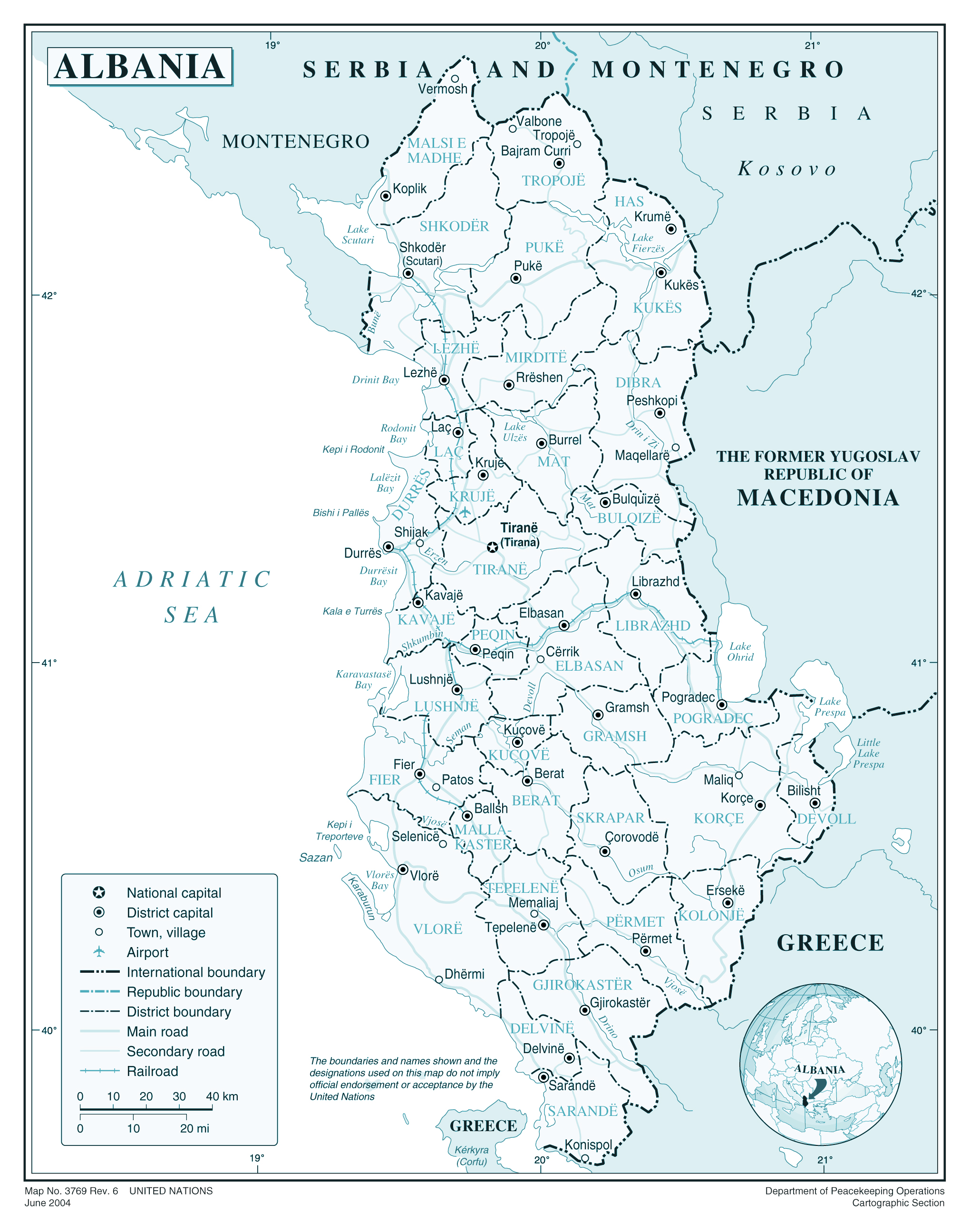 Large detailed political and administrative map of Albania with