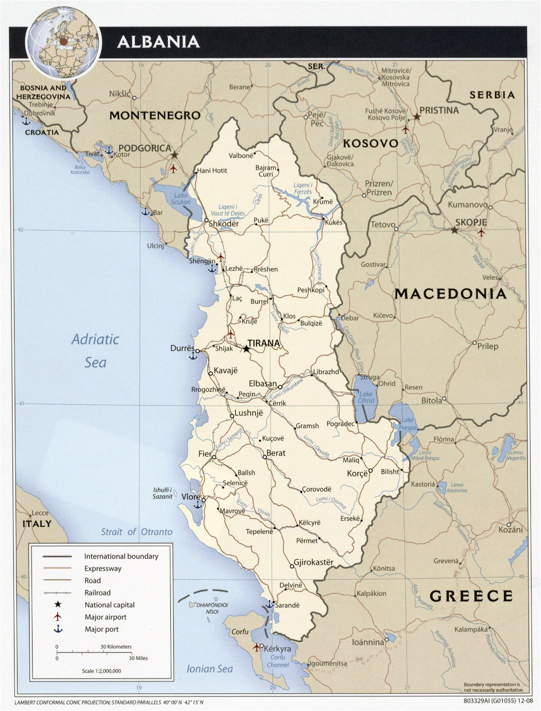 Large detailed political map of Albania with roads, cities and airports - 2008