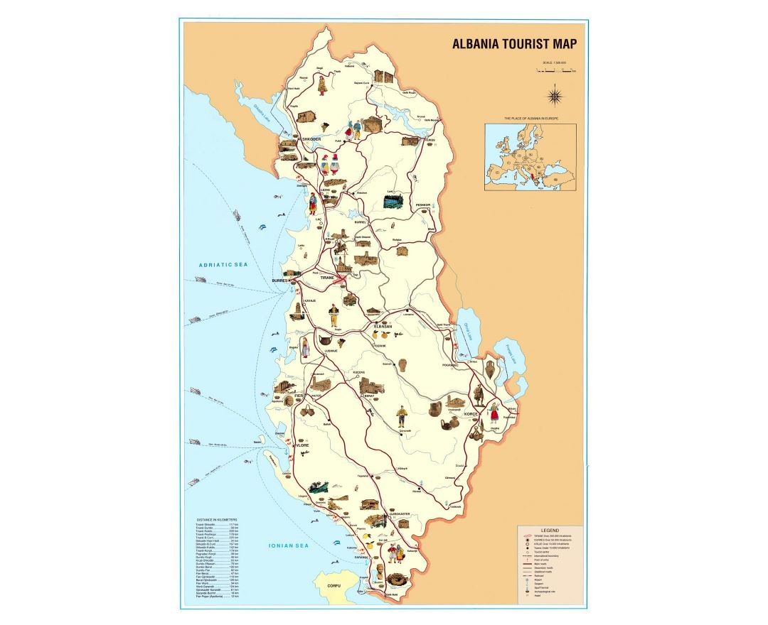 Large detailed tourist map of Albania