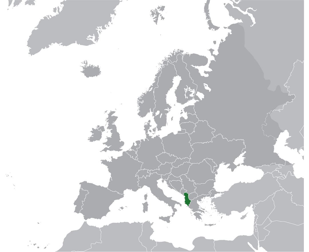 Large location map of Albania in Europe