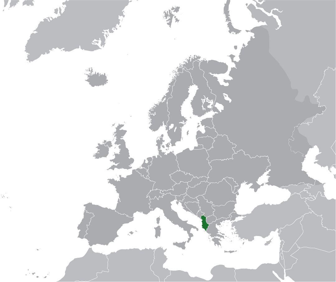 Large location map of Albania in Europe Albania Europe