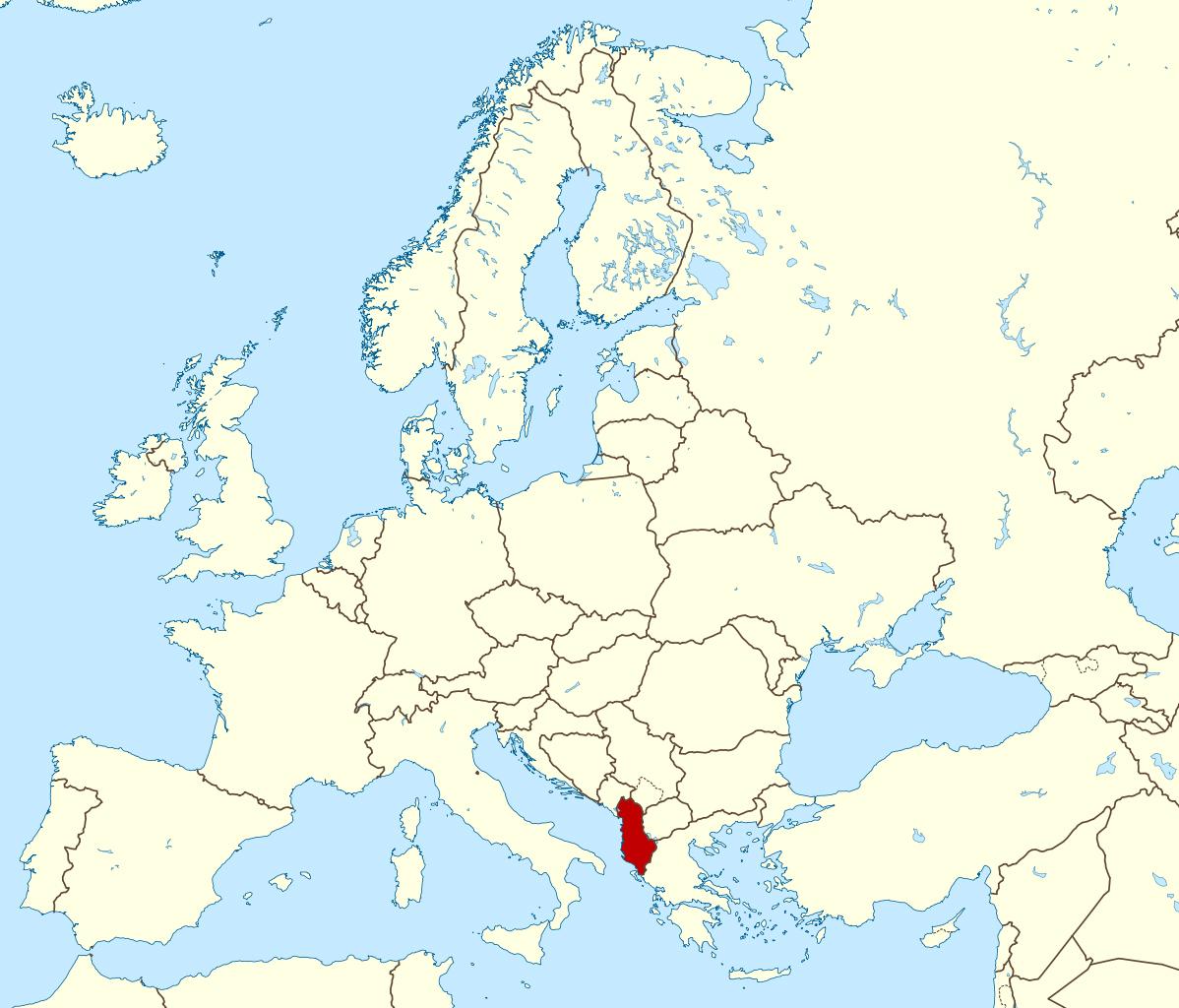 Large location map of Albania Albania Europe Mapsland Maps
