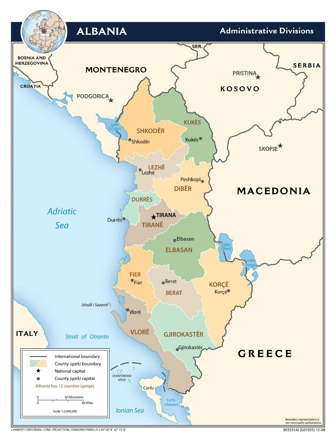 Large scale administrative divisions map of Albania - 2008