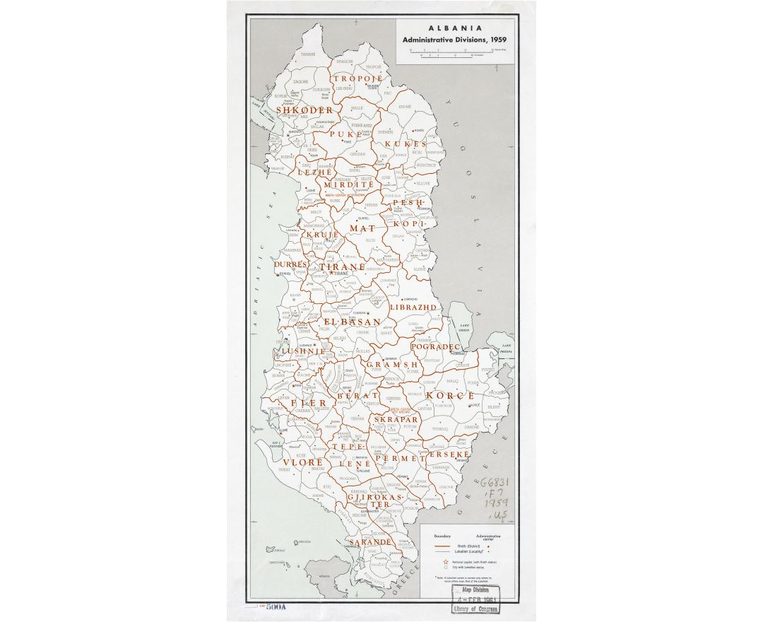 Large scale detailed administrative divisions map of Albania - 1959