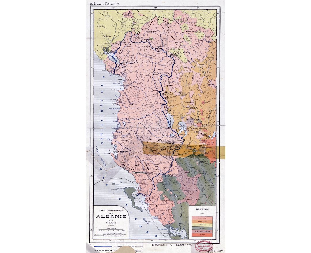 Large scale old ethnographic map of Albania - 1918