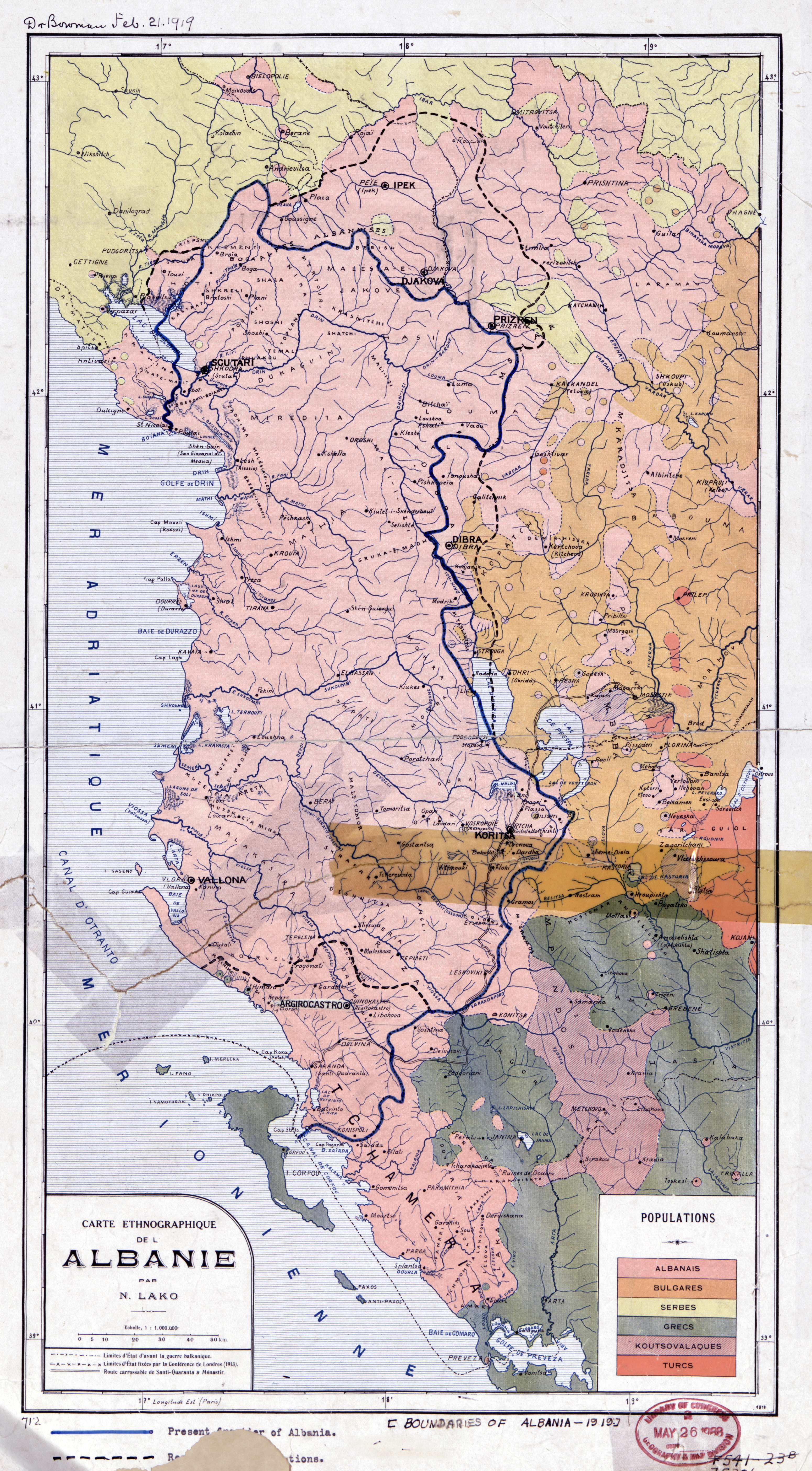 Large scale old ethnographic map of Albania - 1918 | Albania ...
