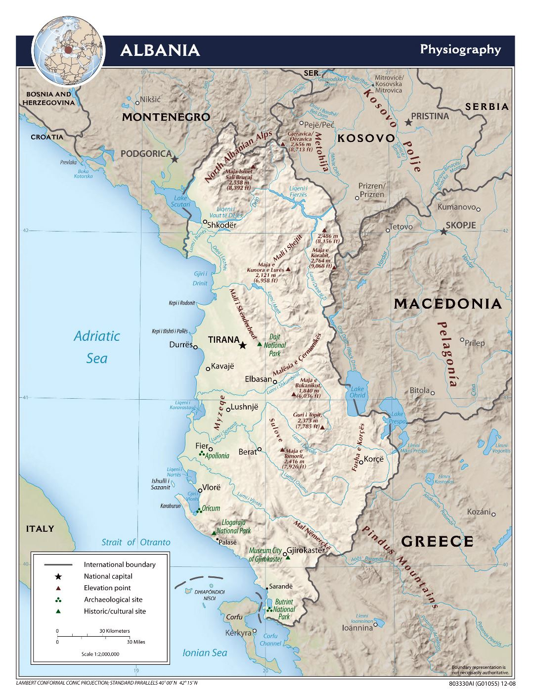 Large scale physiography map of Albania - 2008