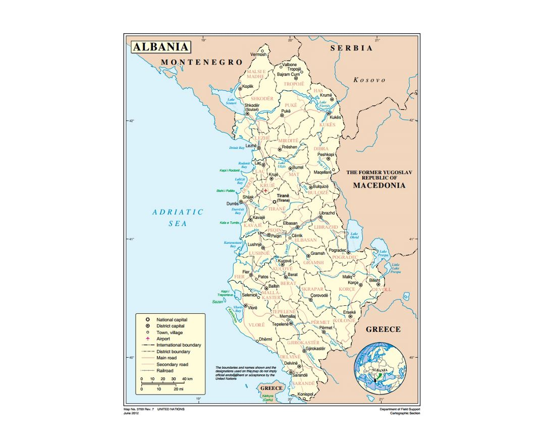 Political and administrative map of Albania with roads, major cities and airports