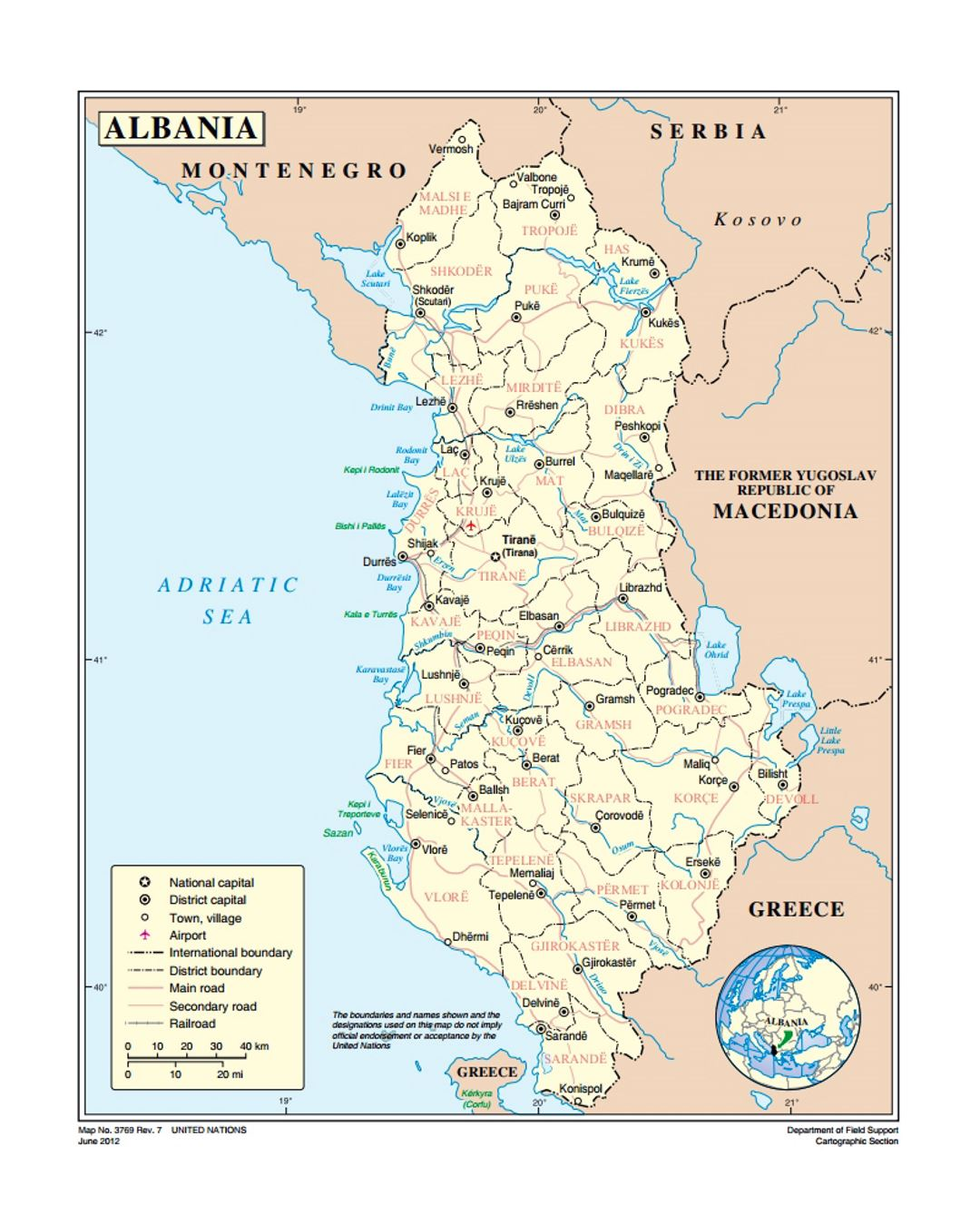 Political And Administrative Map Of Albania With Roads Major - Political map of albania