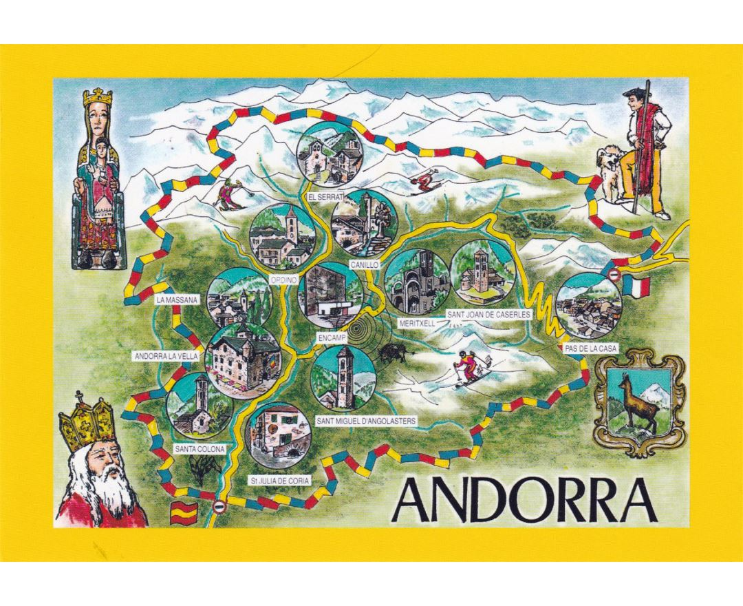 Detailed Andorra tourist illustrated map