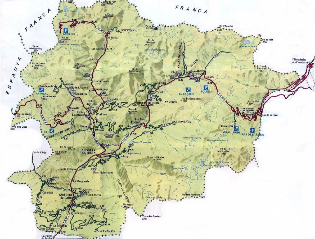 Detailed road map of Andorra with relief