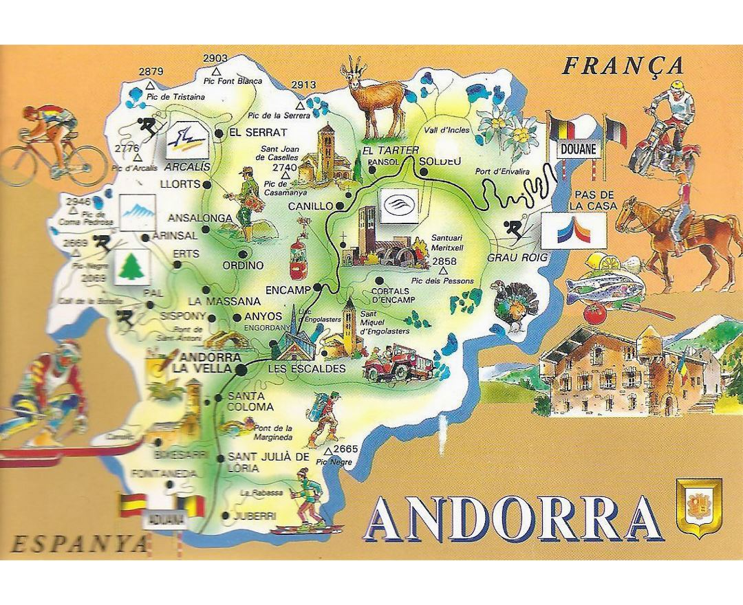 Maps of Andorra Detailed map of Andorra in English Tourist map