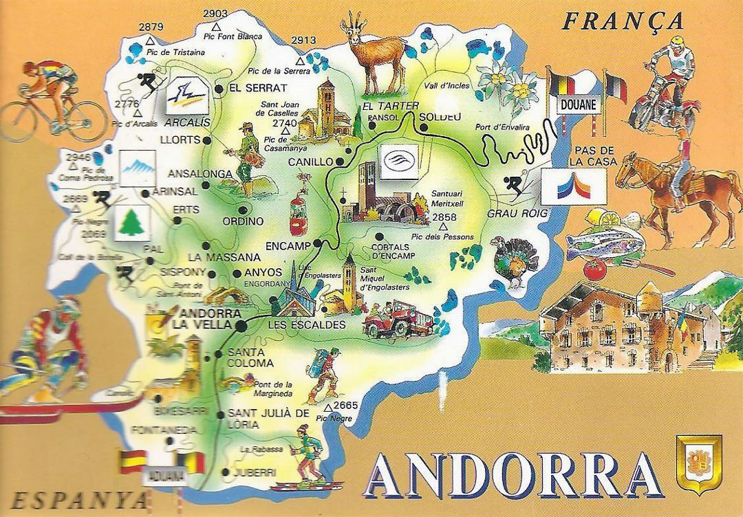 Detailed tourist illustrated map of Andorra