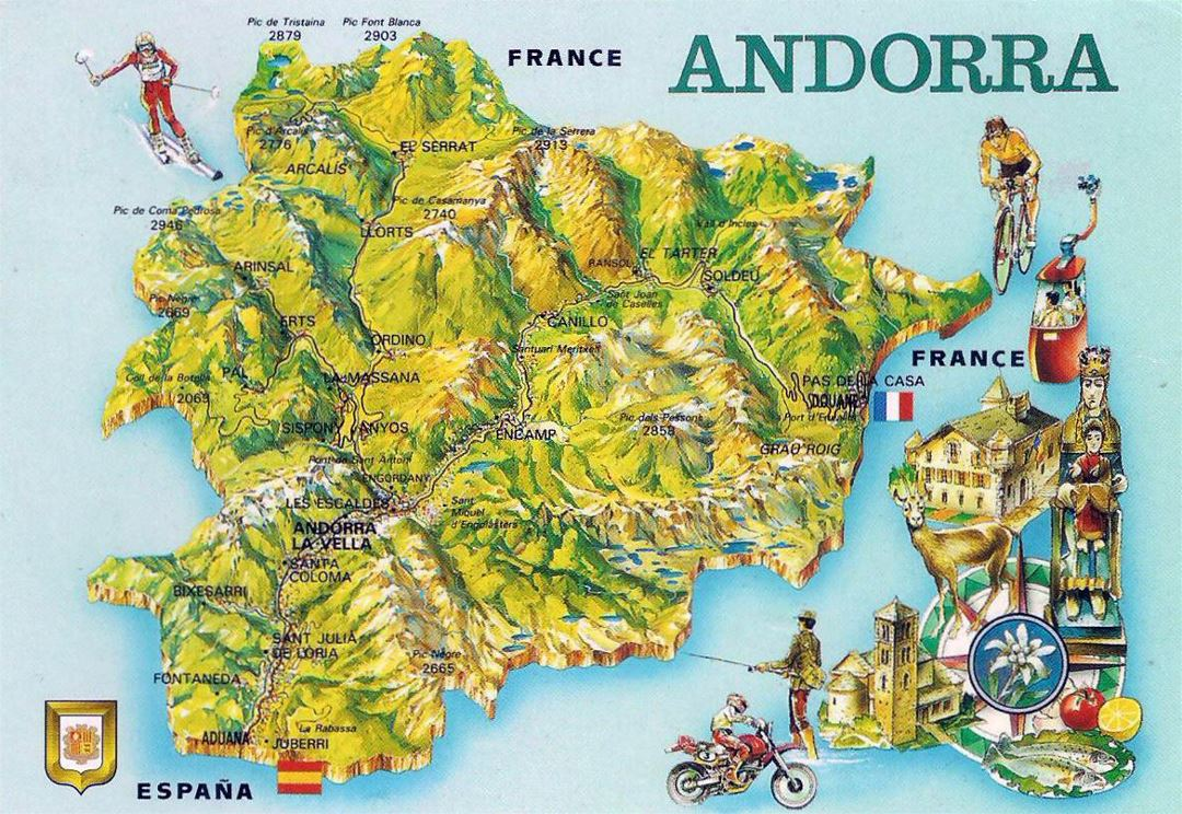 Detailed tourist map of Andorra