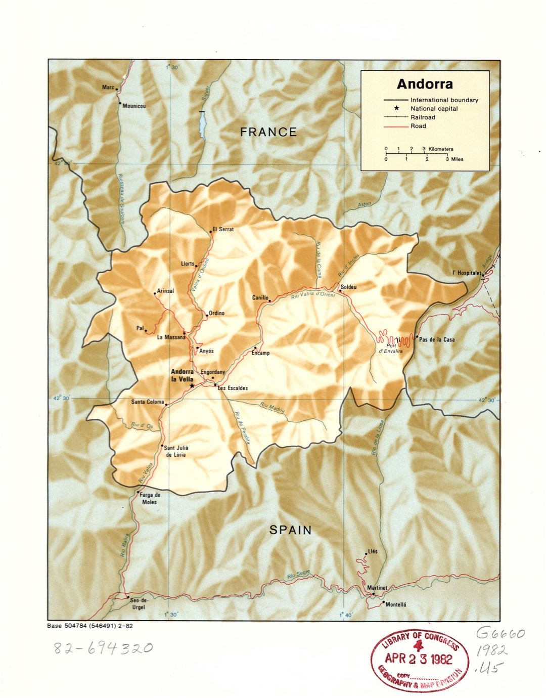 Large detail political map of Andorra with relief, marks of major cities, roads and railroads - 1982