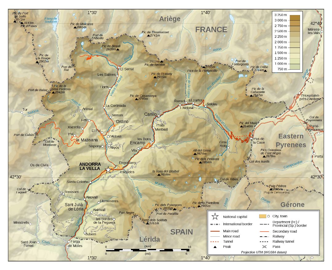 Large detailed physical map of Andorra