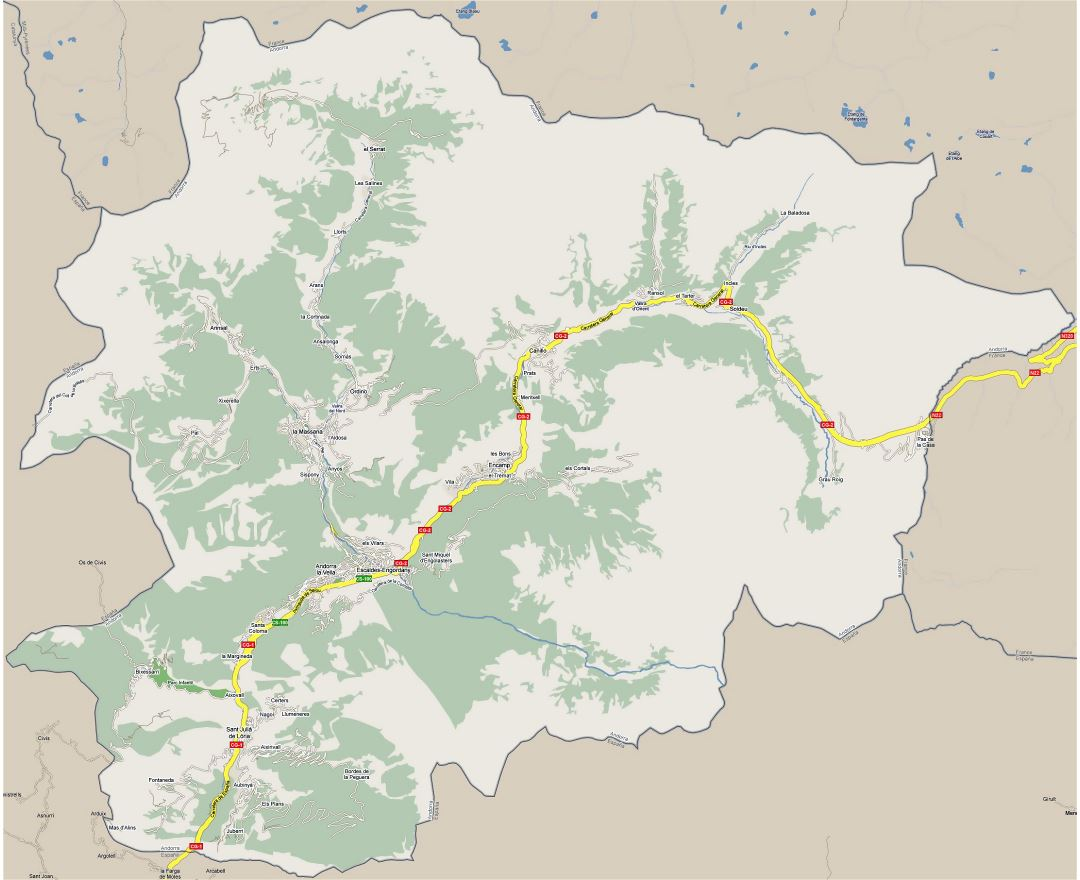 Large detailed road map of Andorra