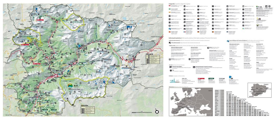 Large detailed tourist map of Andorra