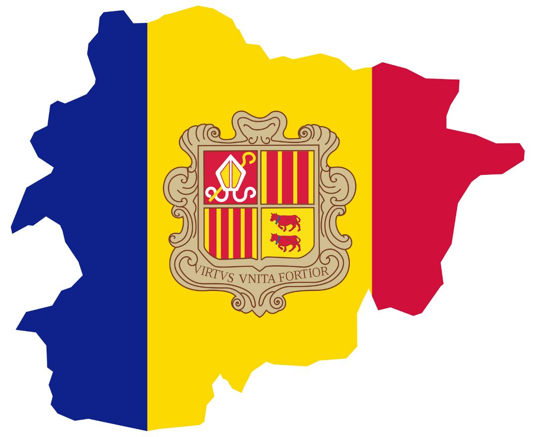 Large flag map of Andorra