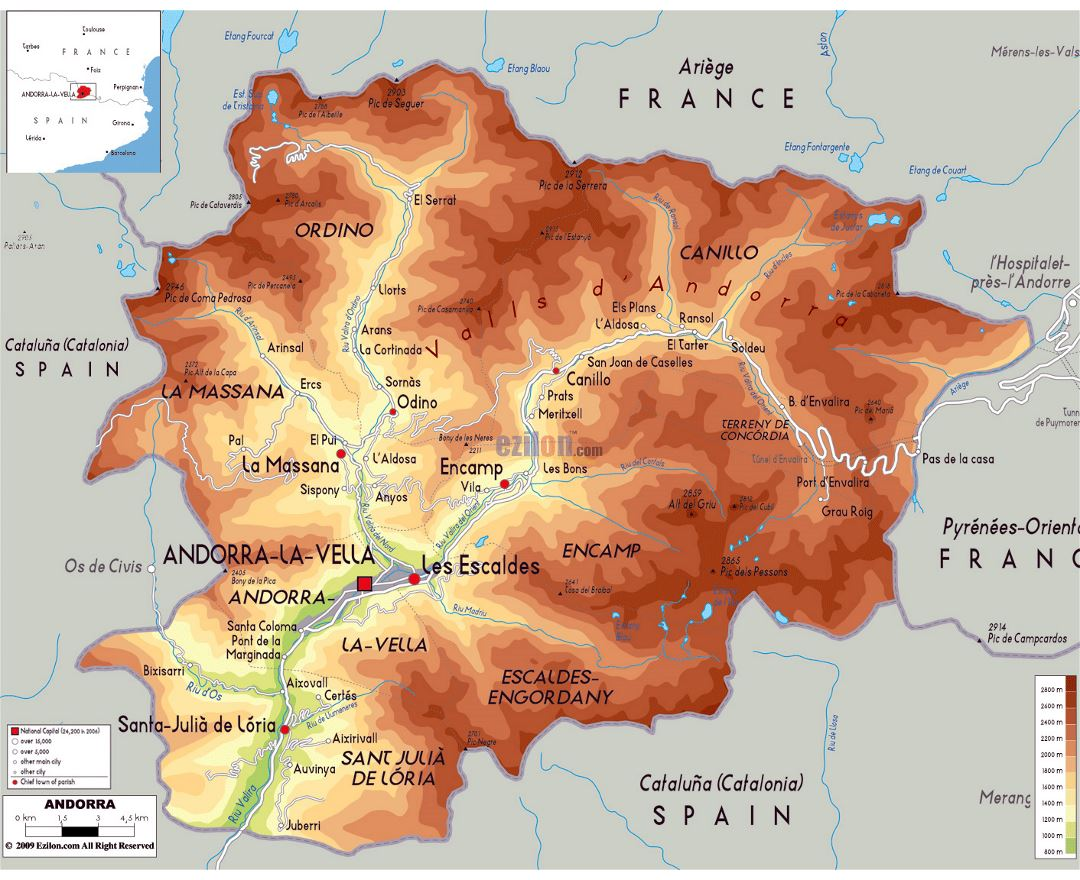 Large physical map of Andorra with roads and cities