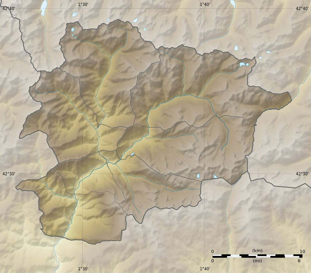 Large relief map of Andorra