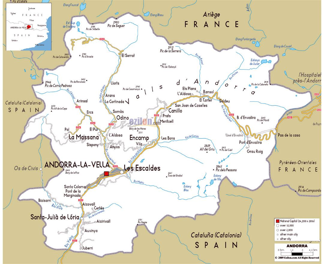 Large road map of Andorra with cities