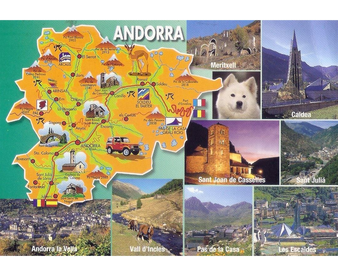 Large tourist illustrated map of Andorra