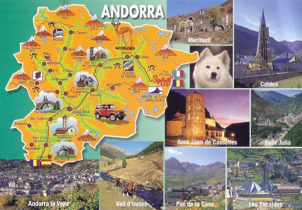 Large Tourist Illustrated Map Of Andorra Andorra Europe - Where is andorra in europe map