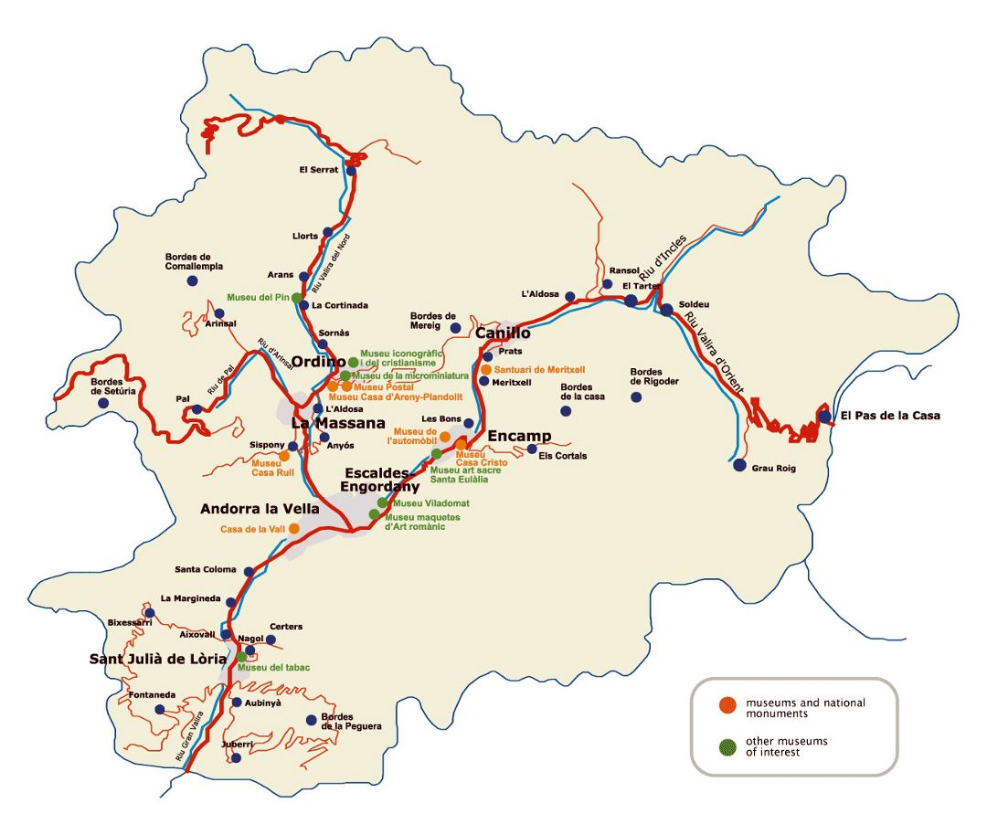 Large tourist map of Andorra