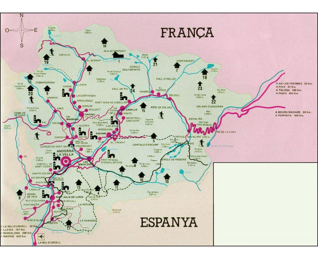 Large tourist map of Andorra with all cities and roads
