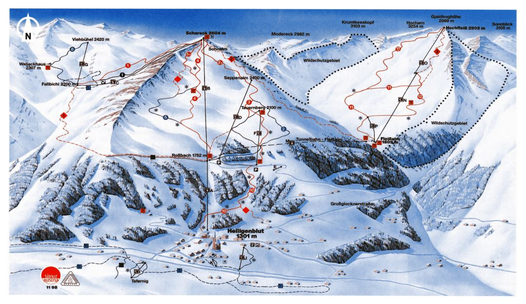 Large detailed piste map of Heiligenblut Ski Resort - 1998