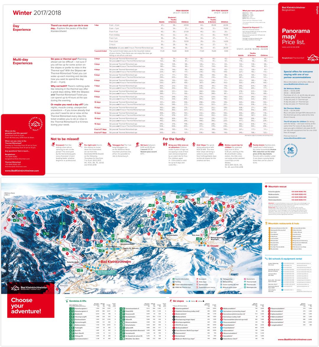 Large scale piste map of Bad Kleinkirchheim Ski Resort and price list - winter (2017-2018)