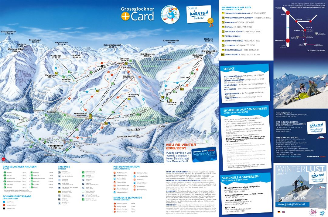 Large scale piste map of Grossglockner - Heiligenblut Ski Resort - 2016-2017