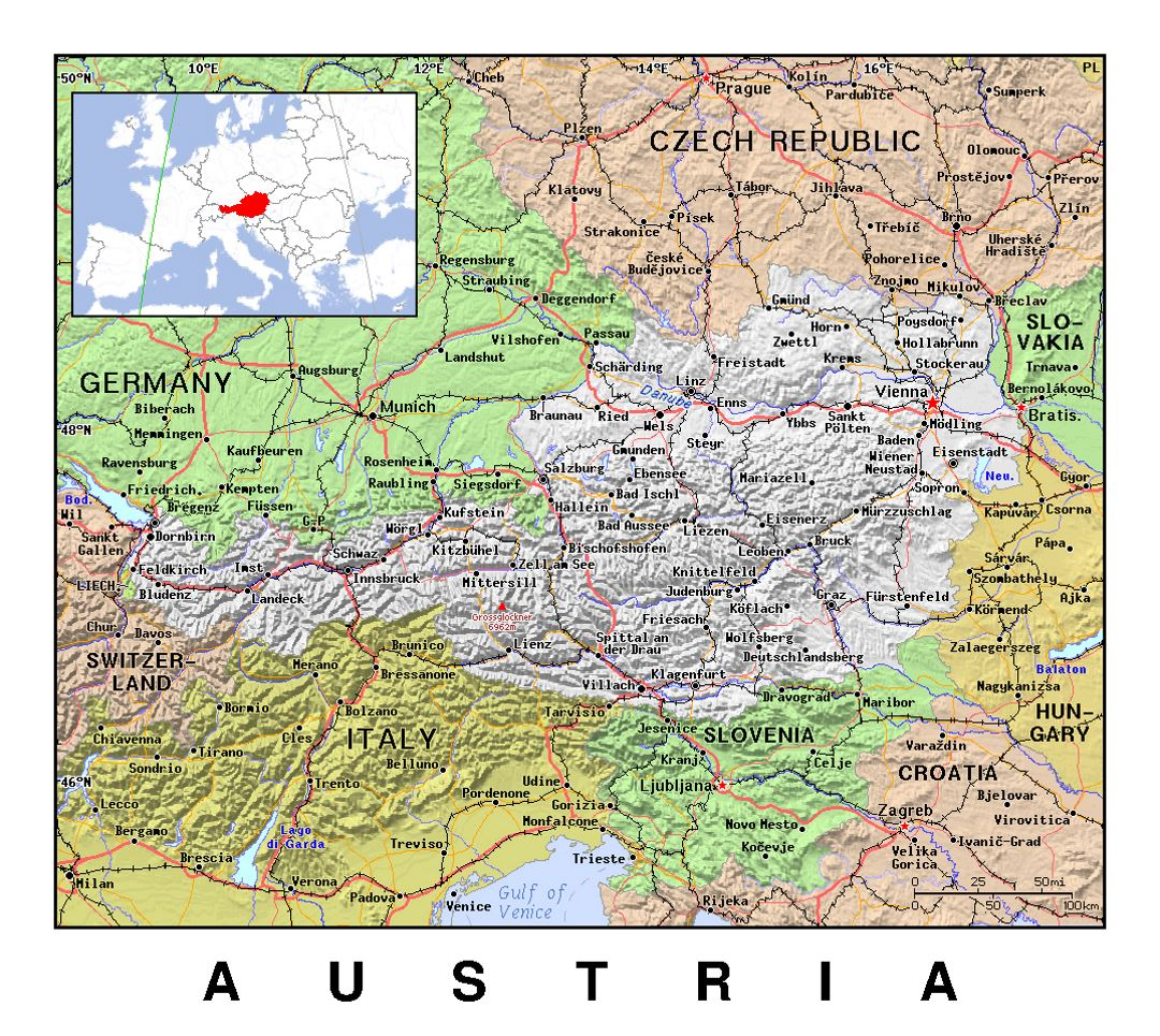 Detailed political map of Austria with relief