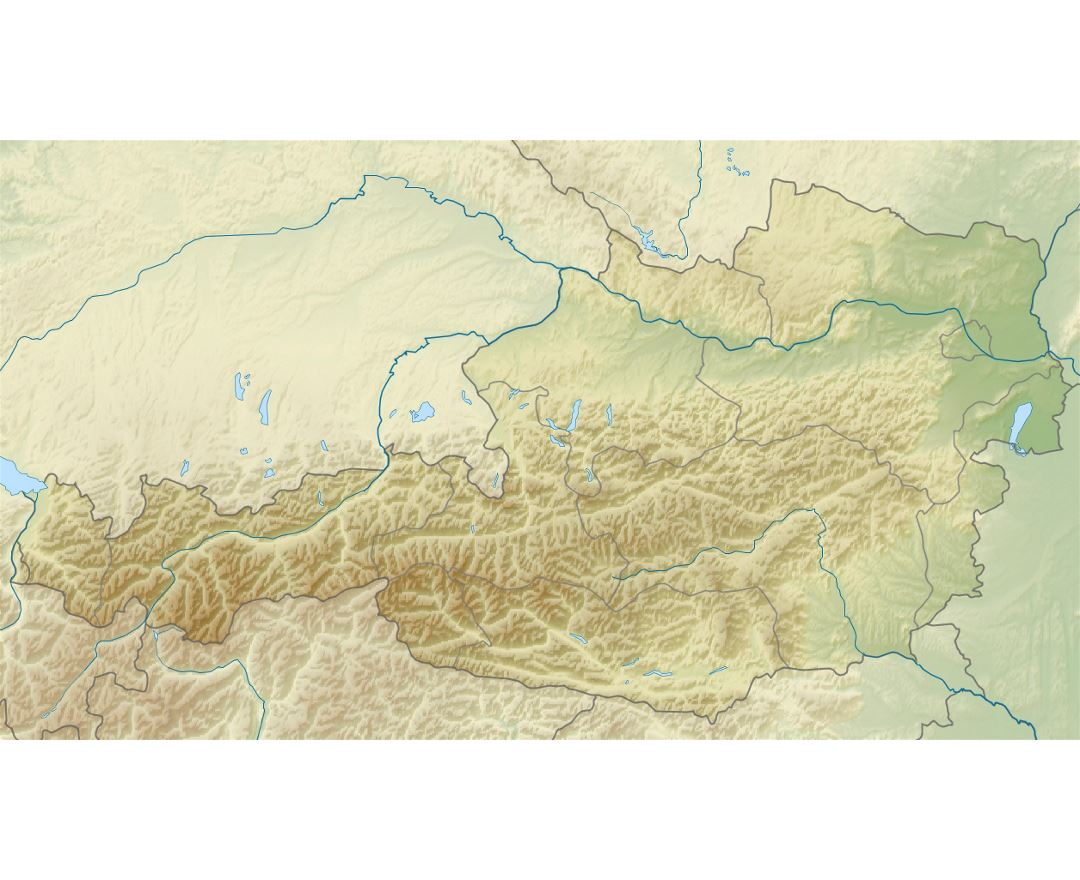 Detailed relief map of Austria