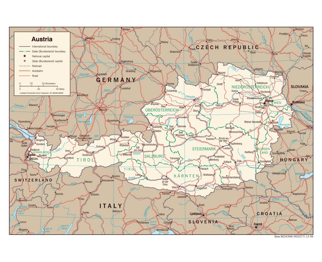Large detailed political and administrative map of Austria - 1999
