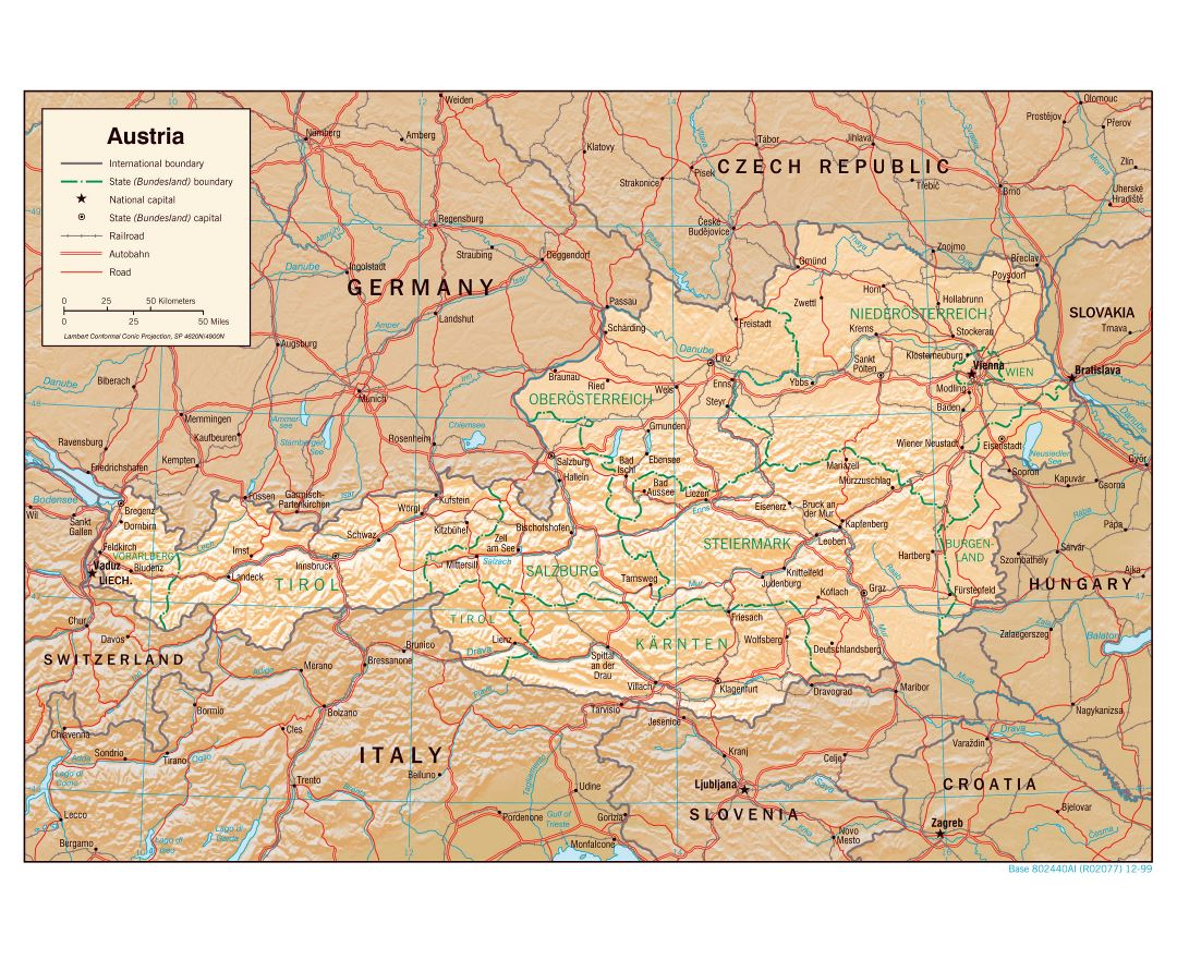 Large detailed political and administrative map of Austria with relief - 1999