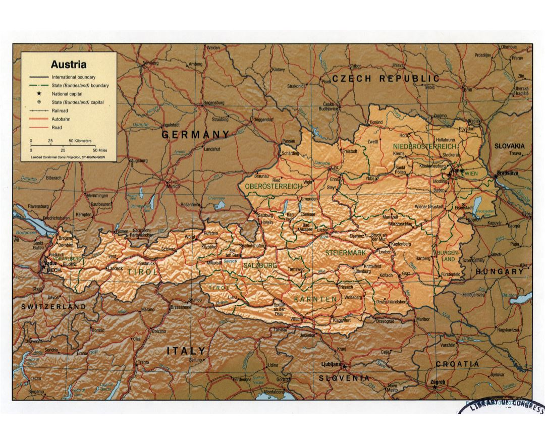 Large detailed political and administrative map of Austria with relief, roads, railroads and major cities - 1999