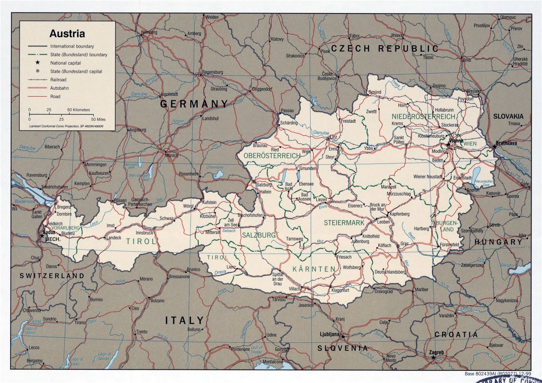 Large detailed political and administrative map of Austria with roads, railroads and major cities - 1999