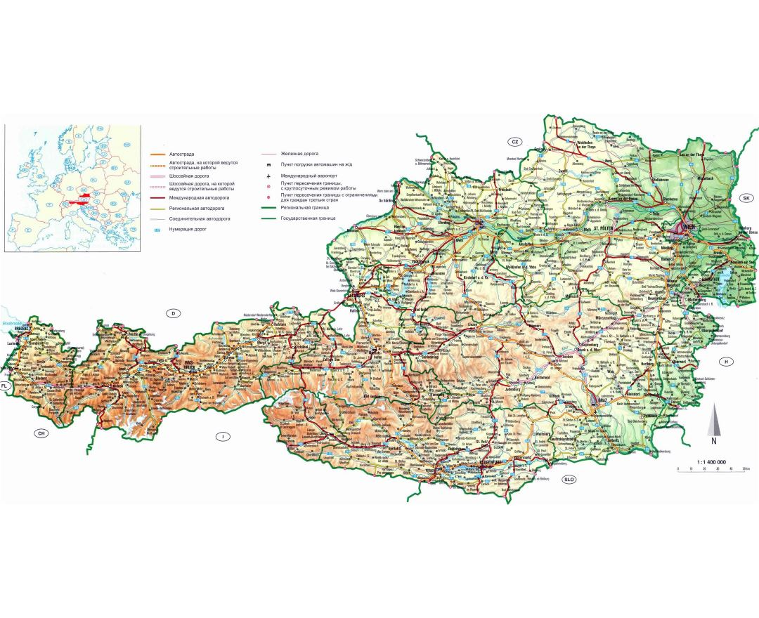 Large detailed road map of Austria with relief