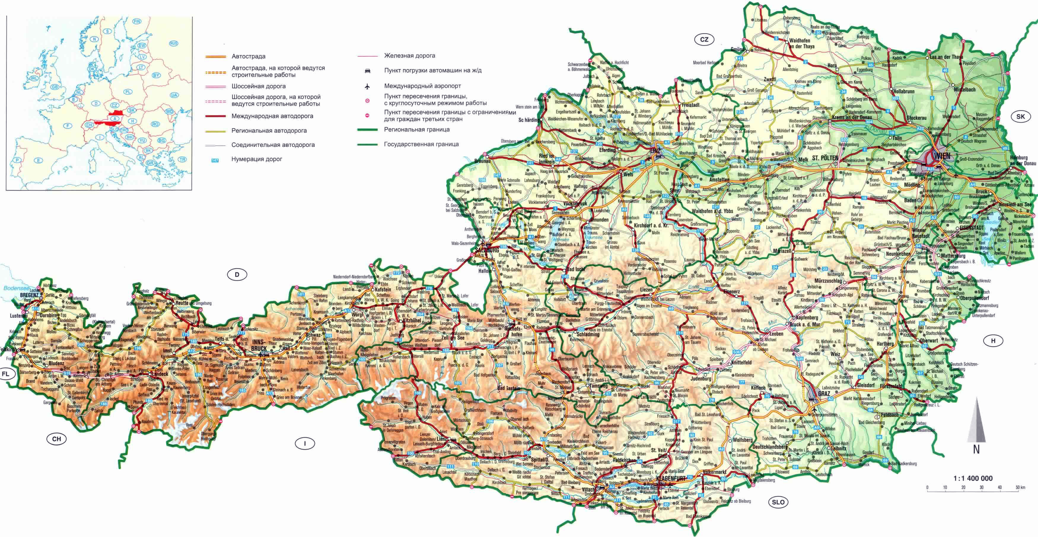 Large detailed road map of Austria with relief Austria Europe